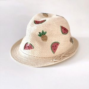 H&M Straw Fedora with Sequin Fruits 6-8Y